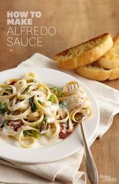 Impress your guests with this homemade alfredo sauce recipe. A rich, creamy sauce is the perfect topping to any Italian pasta dish. Make chicken alfredo and finish it off with this easy sauce to add the perfect flavor to your dinner. Italian Recipes, New Recipes, Favorite Recipes, Delicious Recipes, Recipies, Pasta Recipes, Dinner Recipes, Cooking Recipes, Cooking Videos