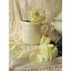 Ancien pichet à eau en faïence blanche FB Badonviller France. Avec des fleurs une décoration brocante shabby chic