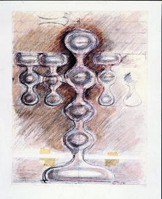 Silver V&A Candelabra Sketch, 1980 - Robert Welch