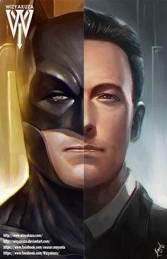 Bruce Wayne Ben Affleck & Batman Split Batman vs. by Wizyakuza