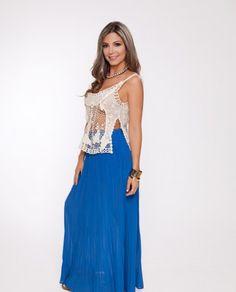 Blue Chiffon Pleated Maxi Skirt