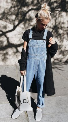 Cap sleeve high necked top + overall (jumpsuit/relaxed fit jean in pale denim!) + canvas lace-ups + long coat