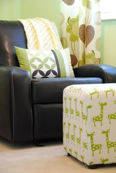 Love pairing a fun patterned ottoman with a leather rocker in the nursery! #nurserydecor