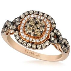 Le Vian® Chocolate and Vanilla Diamond® Cushion Shaped Pave Halo Ring