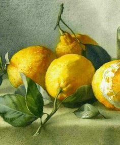 lemon delumptious. Fruit Painting, China Painting, Still Life Fruit, Pierre Auguste Renoir, Fruit Art, Olio, Teaching Art, House Painting, Landscape Paintings