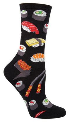 Craving some sushi? Skip the expensive restaurant, roll right out of bed and into these colorful food socks.