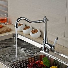 52.44$  Watch here - Wholesale And Retail Promotion Swivel Spout Chrome Brass Kitchen Faucet Vessel Sink Mixer Tap Ceramic Handle Deck Mounted  #aliexpresschina