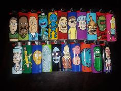 Rick and Morty characters hand painted on regular sized Bic lighters! Custom Lighters, Cool Lighters, Ricky And Morty, Rick Y Morty, Glass Pipes And Bongs, Glass Bongs, Light Painting, Diy Painting, Rick And Morty Characters