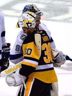 MAY 26: Andrei Vasilevskiy #88 of the Tampa Bay Lightning congratulates Matt Murray #30 of the Pittsburgh Penguins celebrate after defeating the Tampa Bay Lightning in Game Seven of the Eastern Conference Final with a score of 2 to 1 during the 2016 NHL Stanley Cup Playoffs at Consol Energy Center on May 26, 2016 in