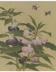 Bees and Garden Blossoms  by Anonymous.