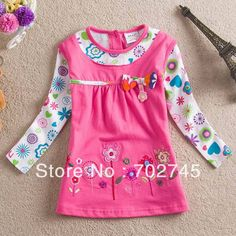 Girl T-shirts 2014 New Design Long Sleeve Cotton Flower Embroidery T-shirts For Girl L322