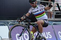 Peter Sagan celebrates his Tour of Flanders win with a wheelie!