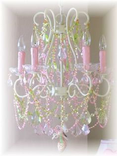 Pink And Green Crystals Chandelier