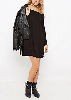 0d4b70a9a9a5 Black Off Shoulder Swing Dress Black Off Shoulder
