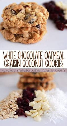 These White Chocolate Oatmeal Craisin Coconut Cookies are a nice way to break out of the old chocolate chip cookie rut!