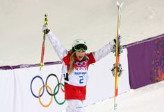 SOCHI, RUSSIA - FEBRUARY 08: Justine Dufour-Lapointe of Canada celebrates winning gold in the Ladies' Moguls Final 3 on day one of the Sochi 2014 Winter Olympics at Rosa Khutor Extreme Park on February 8, 2014 in Sochi, Russia. (Photo by Mike Ehrmann/Getty Images)