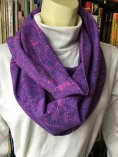 Purple and Pink Crackle Print Cotton Infinity, Loop, Circle Scarf by NancyPKdesigns on Etsy