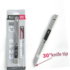 Deli 2034 the Mini utility knife 30 degree tip . Small mobile phone film tools the  Stainless Steel Art Utility Knife