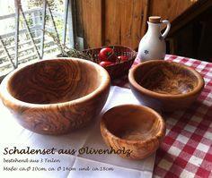 3 er Set aus Set of 3 - Wood Turned Bowls, Wood Bowls, Turned Wood, Olive Wood Bowl, Woodworking Inspiration, Salad Bowls, Wood Turning, Wood Crafts, Serving Bowls