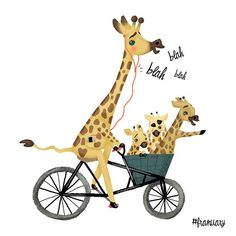 Here comes another #franuary (a drawing challenge by the lovely @frannerd). I hope you guys like it!? Please let me know in the comments! ❤️Today's animal was a giraffe talking on the phone while cycling a cargo bike with her kids... #alexandrahelm