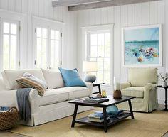 White Slipcovered Sofa for Beach Cottage Style Living... http://www.beachblissdesigns.com/2017/01/beach-cottage-style-with-white-slipcovered-sofa.html