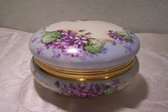 Fantastic Limoges Large Covered Bonbon Box (Powder Puff Dresser Jar, Jewelry Casket) adorned with Lilac Violets & Delicate Gold Scrolling signed by the Late 19th Century artist ' L Svensson'
