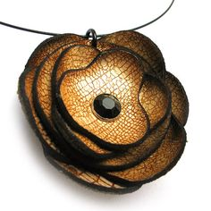 Golden Leather Flower Wire Necklace Eco Friendly by Greenbelts, $20.00