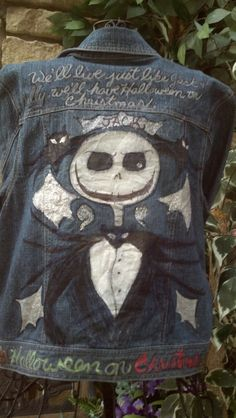 Jack Skellington demin jacket upcycled and hand by LooksFromBooks, $60.00