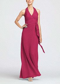 In malibu or clover. This long chiffon halter is a youthful and flirty dress. The waist gathers into a side cascade helping to keep the silhouette flattering, while the pleating at the bust adds shape.