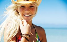 i love this girls long blonde hair freckles and hat alot