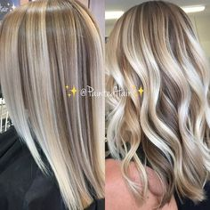 ✨❤♀️Platinum Creme and Sandalwood toned ✨PaintedHair✨Straight and Waved ❤. Painted with the finest @oligopro Cool toned Blonde mixed with Balayage Clay lighter @brazilianbondbuilder for my paint  using my @framarint brushes of course ❤️. (P.s. My client has been with me for a few years now! She's already a Natural level 7 and come in every 6 weeks until we blended out her previous highlights which is so