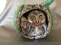 Gourd Art: Elf Owls and Flowering Saguaro by HappyHummerArt Elf Owl, Gourd Art, Painting Tips, Gourds, Owls, Turtle, Animals, Vintage, Etsy