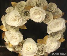 Rolled Paper Flower Wreath: coffee filters, newsprint or books, styrofoam plate, regular scissors, hotglue, gold paint, brown cardstock