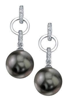 14K White Gold 9mm Tahitian South Sea Pearl & Diamond Earrings