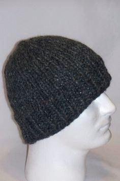 Warm Winter Beanie Hat Granite / Grey Mens Hat by lousknittingroom