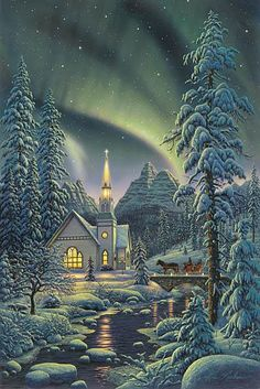 Enjoying The Journey:Cancer As A Lifestyle: That Wintry Scene Christmas Scenery, Winter Scenery, Christmas Art, Winter Christmas, Christmas Decorations, Christmas Gifts, Illustration Noel, Illustrations, Winter Magic