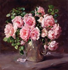 Roses in a Silver Coffee Pot - Limited Edition Print | Mill House Fine Art – Publishers of Anne Cotterill Flower Art