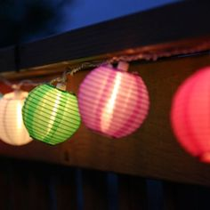 Buy it now Set of 10 Multi-Color Indoor/Outdoor Mini Oriental Style Nylon Lantern Plug-in String Lights - Expandable to 150 Lights