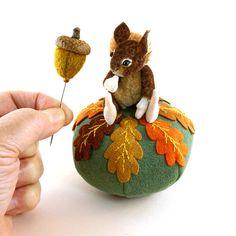 OOAK  2014 Janie Comito ~ Nutkin's First  Acorn ~ Miniature Squirrel Pin Cushion #FallTheme