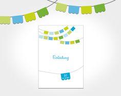 Einladungskarte als Klappkarte zur Party, Geburtstag, Hochzeit, mit Fähnchen/Fahnen, Flaggen, in Gruen, Blau, Weiss, DIN A6, ©passion4paper, www.die-edle-karte.de