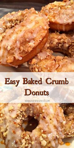 Crumb Baked Donuts Baked Crumb Donuts are like hand held Coffee Cakes with holes! So moist and tender and all that yummy crumb topping! - Moist Tender Baked Crumb donuts with vanilla glaze! They are the perfect start to your day! Baked Donut Recipes, Baked Doughnuts, Baking Recipes, Donuts Donuts, Bread Recipes, Baking Ideas, Delicious Donuts, Delicious Desserts, Yummy Food