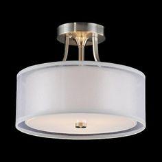 Ceiling Light Fixture Drum Shade Satin Nickel Modern 3 Light Decor Bedroom Hall…
