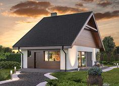 """""""Elastyczny - wariant I"""" Murator C346a prosty, zgrabny dom, który bez trudu da się umieścić na wąskiej działce. Na początek ponad 75 m2 parteru będzie idealne dla trzech osób a gdy potrzebna będzie większa przestrzeń, można zaadaptować poddasze o powierzchni 56 mkw."""