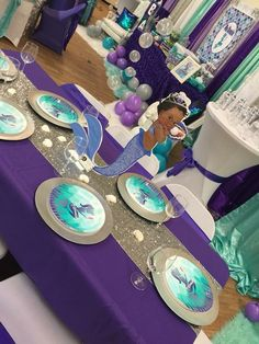 Baby shower girl purple turquoise mermaid parties ideas for 2019 Mermaid Baby Shower Decorations, Mermaid Baby Showers, Baby Shower Centerpieces, Baby Shower Favors, Baby Shower Games, Baby Shower Parties, Baby Shower Mermaid Theme, Mermaid Theme Birthday, Baby Birthday