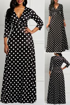 Polka Dots V-Neck Long Sleeves Women's Dress#Dress#fashion