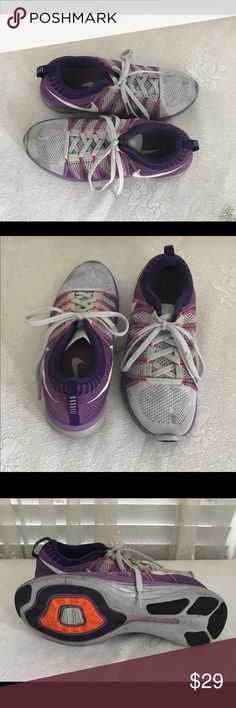 NIKE Flyknit Lunar 2 purple & white Running Shoes Worn once or twice (see photos of the soles) a few stains on top from being shuffled around in my closet Nike Shoes Athletic Shoes