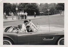 """Elvis and friend in a BMW. Germany, July, 1959. (Rare). Source Elvis Pictures FB """