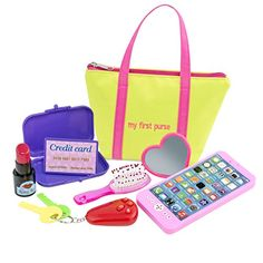 My First Purse for Girls or Boys :: Includes Play Phone and Keys With Sound Effects Plus Mirror, Hairbrush, Wallet, Credit Card, & Pretend Lipstick in Zippered Tote :: Makes a Great Kid's Gift Little Girl Toys, Toys For Girls, Baby Doll Nursery, Baby Dolls, Toddler Preschool, Toddler Toys, Barbie Chelsea Doll, American Girl Doll Sets, Minnie Mouse Toys