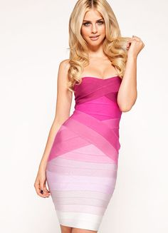 Clothing : Bandage Dresses : 'Stacie' Pink Gradient Strapless Bandage Dress