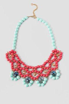 Veracruzana Beaded Necklace in Coral